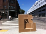 Exhibit A on the street corner by SCI-Arc.