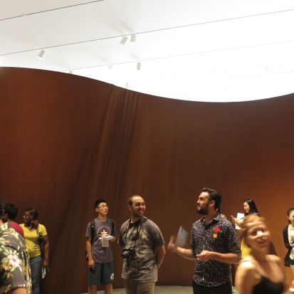Students inside a sculpture at LACMA.